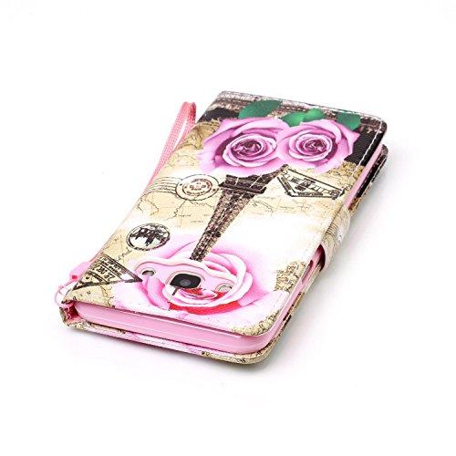 Para Smartphone Samsung Galaxy J5(2016) J510móvil, piel para Samsung Galaxy J5(2016) J510Flip Cover Funda Libro Con Tarjetero Función Atril magnético (+ Polvo Conector) marrón 5 7