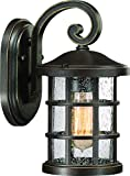 Luxury Craftsman Outdoor Wall Light, Small Size: 11'' H x 6'' W, with Tudor Style Elements, Wrought Iron Design, Oil Rubbed Parisian Bronze Finish and Seeded Glass, UQL1041 by Urban Ambiance