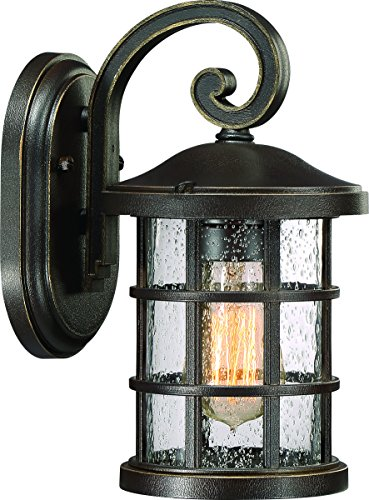 Luxury Craftsman Outdoor Wall Light, Small Size: 11'' H x 6'' W, with Tudor Style Elements, Wrought Iron Design, Oil Rubbed Parisian Bronze Finish and Seeded Glass, UQL1041 by Urban Ambiance by Urban Ambiance