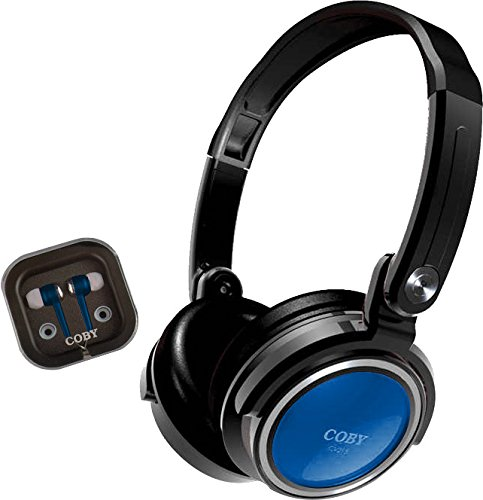 Coby CVH-800-BLU 2-In-1 Jammerz Xtra Headphones and Earbuds with Case, Blue