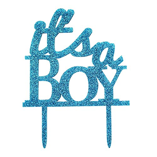 Glitter Acrylic It's A Boy Cake Topper, Baby Shower Decoration Birthday Party Favors Christening Photo Props (Blue)