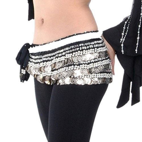 Belly Dance Hip Scarf, Multi-Row Silver Coin Dance Skirt