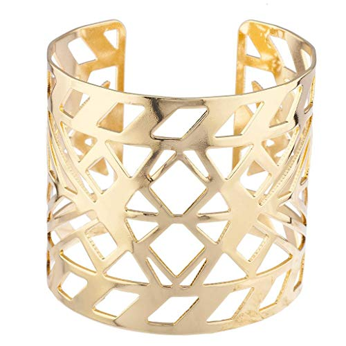 Lux Accessories Gold Tone Aztec Style Geo Cutout Bracelet Cuff (Cut Tone Out Gold)