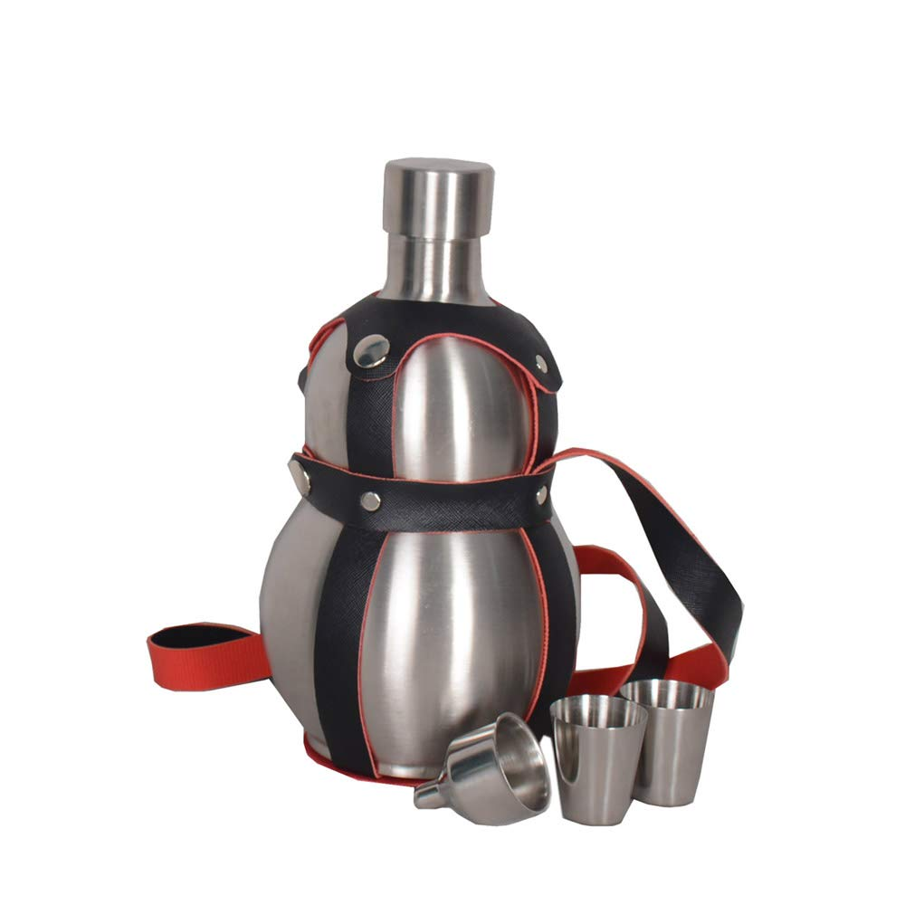 64 Oz Stainless Steel gourd Wine Flask Bottle Flagon Kettle Outdoor Black Strap