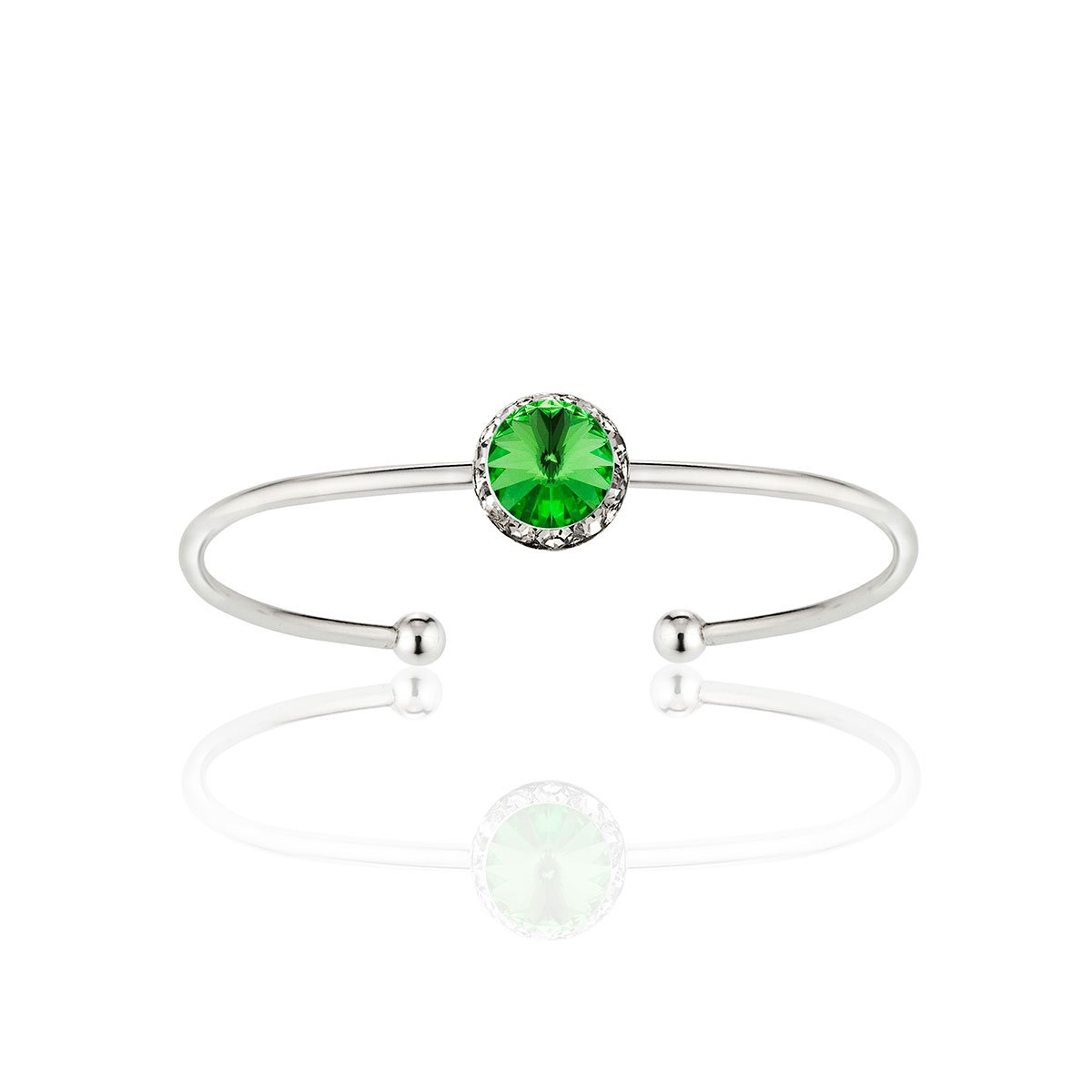 Styles By JS Swarovski Crystal Stackable Birthstone Cuff Bracelet (08 - Peridot Olive Green - August)