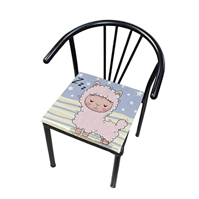 """Bardic HNTGHX Outdoor/Indoor Chair Cushion Cute Sleeping Sheep Stripe Square Memory Foam Seat Pads Cushion for Patio Dining, 16"""" x 16"""": Home & Kitchen"""