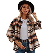 Qiaomai Womens Retro Wool Blend Plaid Long Sleeve Lapel Button Short Shackets Coats
