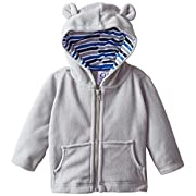 Gerber Infant Boys' Hooded Micro Fleece Jacket,Gray,12 Months