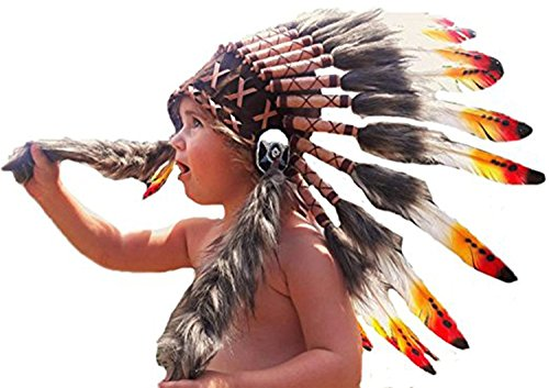 [N11- From 2-5 years Kid / Child's: 3 colors Indian Headdress 20,5 inch. – 52 cm] (Child Indian Headdress)