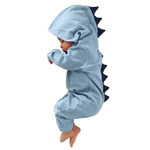 96edd677d5b Wondere Newborn Infant Baby Boy Girl Dinosaur Hooded Romper Jumpsuit  Outfits Clothes (0~3month