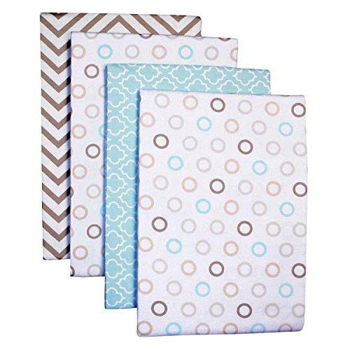 Carter's 4-Pack Cotton Flannel Receiving Blankets, Chevron Taupe (Dot Receiving Blanket)