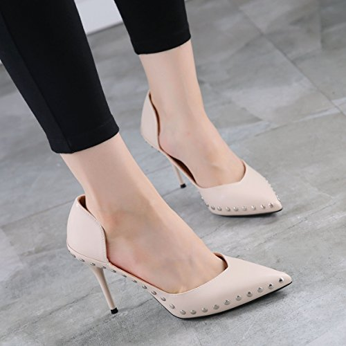 Heels Sexy 36 Shoes Shoes Leisure Sharp Single Hollow Spring MDRW 5Cm Rivets Shallow Heels Work Retro Shoes Lady 8 Women'S Mouth Beige Elegant Work High Fine qgww4aP