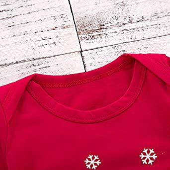 KiKibaby Christmas Outfits Baby Boys Girls My First Christmas Letter Print Rompers Clothes Set