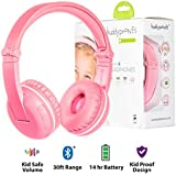 Wireless Bluetooth Headphones for Kids - BuddyPhones PLAY | Kids Safe Volume Limited to 75, 85 or 94 dB | Foldable with 14-Hour Battery Life | Optional Cable for Audio Sharing | Pink