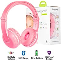 BuddyPhones Play Wireless Bluetooth Headphones for Kids | Kids Safe Volume Limited to 75, 85 or 94 dB | Foldable with 14-Hour Battery Life | Optional Cable for Audio Sharing | Pink