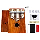 Thumb Piano 17 Keys Kalimba KOA Body Finger Piano Mbira Sanza Thumb Instrument with Kalimba Songbook 15 Songs Study Guide, Tuning Hammer and 4 Pcs Finger Thumb Picks(Solid KOA Wood)