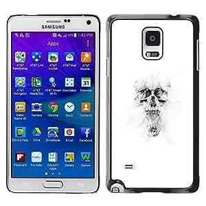 Caucho caso de Shell duro de la cubierta de accesorios de protección BY RAYDREAMMM - Samsung Galaxy Note 4 - Blanco Cráneo