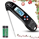 GEEKHOM Instant Read Thermometer, Electronic Digital Meat Thermometer with Probe, Talking Function, LCD Backlight Screen for BBQ Oven Grill Smoker Kitchen Cooking(Black)
