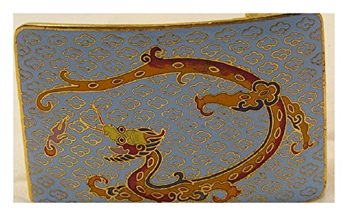 - Vintage Cloisonne Dragon Belt Buckle curved Rare Unusual Color