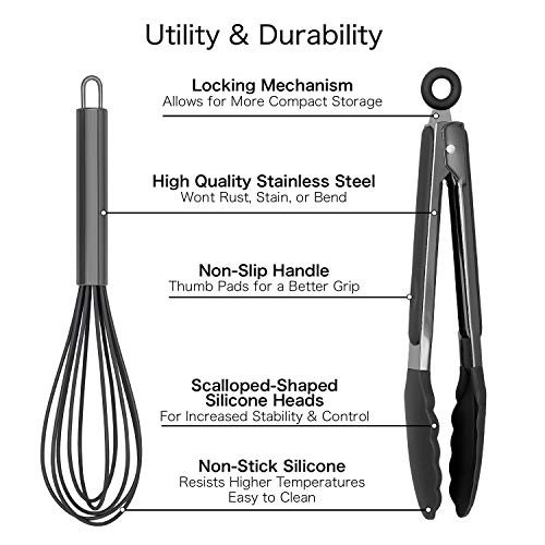 """Country Kitchen 10"""" Whisk and Tong Kitchenware Set for Nonstick Cookware, Silicone and Stainless Steel Accessories for Cooking, Baking, Frying, Grilling, Blending and Serving- Gun Metal and Black"""