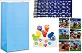 Paw Print Birthday Party Favor Pack for 12 - 44 Paw Patrol Stickers, 12 Paw Print Pencils, 12 Paw Print Stampers & 12 Light Blue Treat Bags