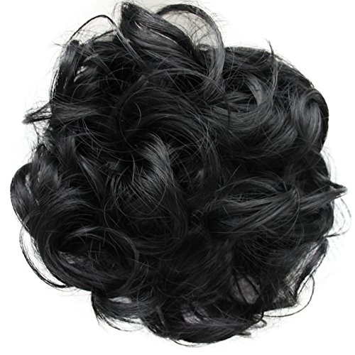 PRETTYSHOP Hairpiece Scrunchie Bun Up Do   Ponytail Extensions   Wavy Curly or Messy (Black G1E_1)