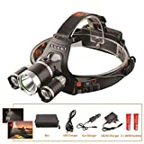 LED Headlight 12000 Lumen 3 X XML T6 LED Head Lamp Flashlight Led Headlamp Choose Battery Charger for Camping/Hunting/Fishing G