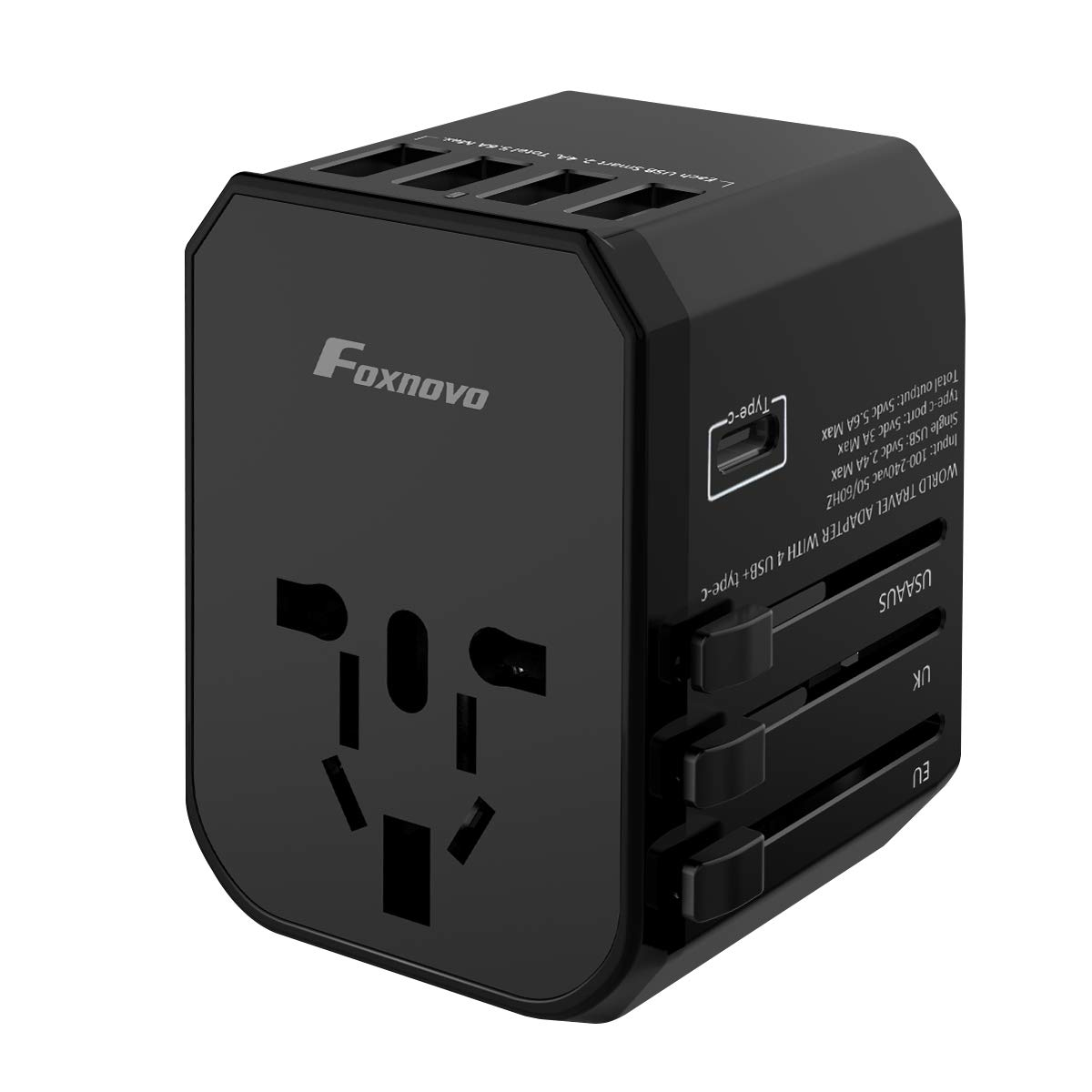 Travel Power Adapter, Foxnovo Universal Power Adapter All in One Worldwide Travel AC Plug Converter Wall Charger with 4 USB A and Type-C for US UK EU AU Asia Cell Phone Tablet Laptop