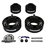 "Supreme Suspensions - Tahoe Lift Kit Full Suspension Lift 3"" Front Suspension Lift Tahoe Leveling Kit Strut Spacers + 3"" Rear Suspension Lift Spring Spacers CNC Machined T6 Aircraft Billet (Black) Easy Install Chevy Tahoe SUV Lift Kit PRO"