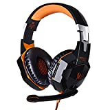 Cheap JinSun G2000 Gaming Headset Headphone Stereo Over-ear Game Bass Headset Headband Earphone with Mic and LED Light for PS4 Laptop PC Tablet Smartphones (Orange)
