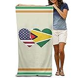 PMNADOU Guyana USA Flag Twin Heart Quick-drying Pool Beach Towel Travel Bath Towel For Adults