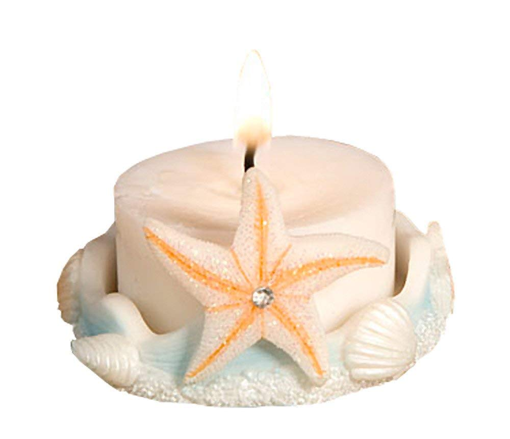 57 Natural and Sea Blue Starfish Design Saver Candle Favors by Fashioncraft (Image #1)