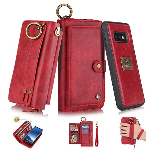 Galaxy S10 Flip Wallet Case,SXTBMR Magnetic Detachable Handmade Cowhide Wallet Case Leather,Zipper Wallet Flip Protective Case Cover with Card Holder [Wrist Strap] for Samsung Galaxy S10 Red