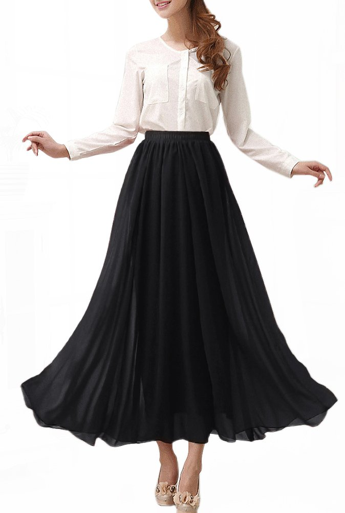Afibi Womens Chiffon Retro Long Maxi Skirt Vintage Dress (XX-Large, Black) by Afibi (Image #1)