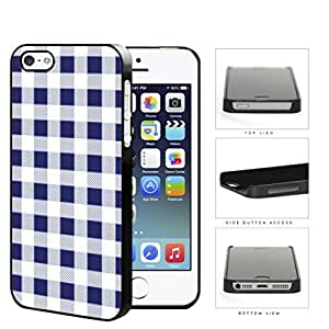 Plaid Design Pattern In Navy Blue Hard Plastic Snap On Cell Phone Case Apple iPhone 5 5s