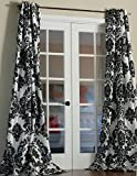 Lambrequin Venetian Damask Flock Faux Silk Curtain Panel, 84'' L