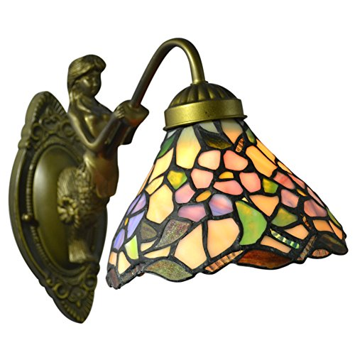 Stained Glass Wall Lamp Shades : Nuomeiju Wall Porch Lamp Floral Stained Glass Shade and Metal Sconce - NMJ102 - tiffany lamps