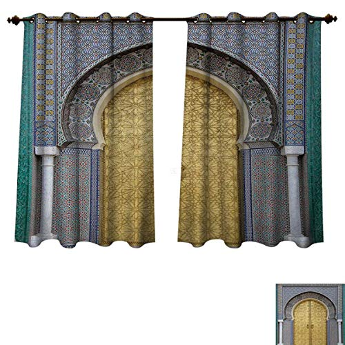 (Moroccan Blackout Thermal Curtain Panel Antique Doors Morocco Gold Doorknob Ornamental Carved Intricate Artistic Window Curtain Fabric Yellow Teal Blue W52 x L63 inch)