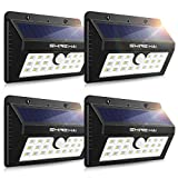 4-Pack Solar Lights Outdoor, Wireless Motion Sensor LED Wall Lighting w/ 3 Modes, 20 LEDs Waterproof Security Lights for Patio, Garden, Yard, Deck, Garage with Dusk-to-Dawn Photocell