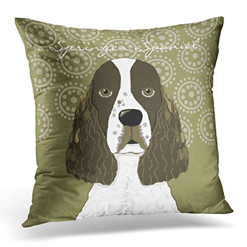 VANMI Throw Pillow Cover Dogs Customize English Springer Spaniel in Brown Pets Decorative Pillow Case Home Decor Square 16x16 Inches - Spaniel Pillow Springer