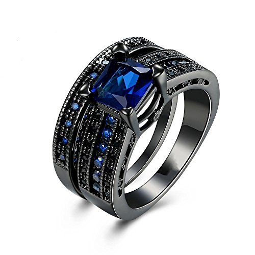 (Rings,ZYooh 2-in-1 Womens Vintage Blue Black Diamond Silver Engagement Wedding Band Ring Jewelry Gift (# 8, Blue))