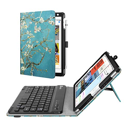 Fintie Keyboard Case for Mini 5th Gen 2019 / iPad Mini 4 - [Corner Protection] PU Leather Folio Stand Cover w/Pencil Holder, Removable Wireless Bluetooth Keyboard for iPad Mini 5 / Mini 4, Blossom