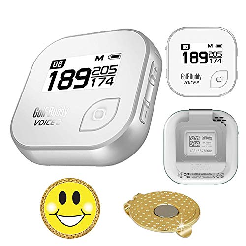 GolfBuddy Voice 2 Golf GPS/Rangefinder Bundle with Magnetic Hat Clip Ball Marker (Smiley Face) ()