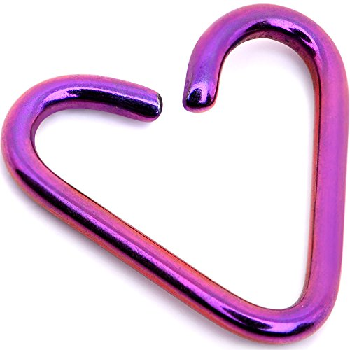 Body Candy Annealed Purple Anodized Titanium Heart Daith Cartilage Tragus 18 Gauge 5/16