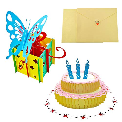 3D Pop Up Birthday Card, Birthday Pop Up Greeting Card, Happy Birthday Card Including Envelope And Glue Best for Mom, Wife, Sister, Boy, Girl, Friend 2 Packs