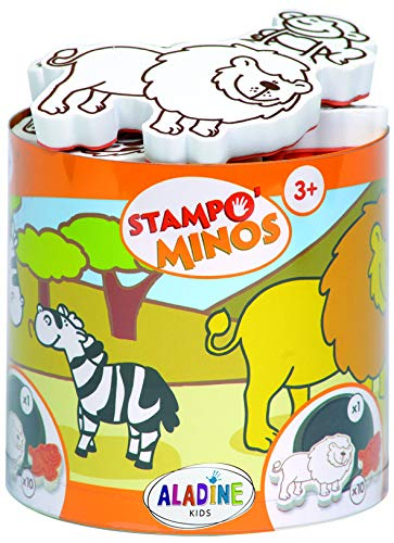Aladine - Stampo Minos Animals of the Savannah - Children's Stamp Kit  - Manual Activities Girl and Boy - Washable Ink - Toys and Creative Games - Box of Stamps + Large Inker Included  - From 3 years
