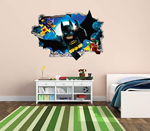 (Batman and Friends- 3D Smashed Wall Effect - Wall Decal for Nursery Kids Decoration (Wide 20