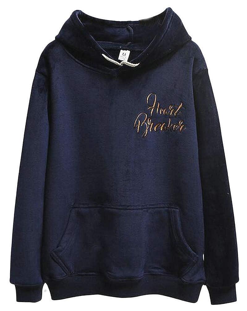 Blyent Women Pocket Comfortably Embroidery Fleece Pullover Hooded Sweatshirts