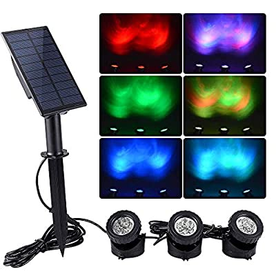 WishHome Solar Pond Lights Outdoor, 3 in 1 RGB LED Fountain Lights, Dusk to Dawn Landscape Spotlight for Garden, Patio, Tree, Lawn (Color Change + Stay on)