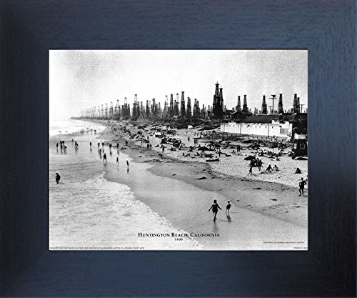 Huntington Beach, California 1900 Espresso Framed Wall Decor Art Print Picture (20x24) (California Photograph Framed)